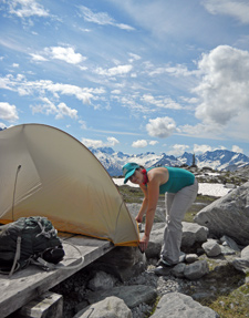 Tent at backcountry site on Hermit trail