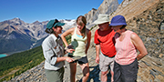 A family on a guided hike to the Burgess Shale in Yoho National Park