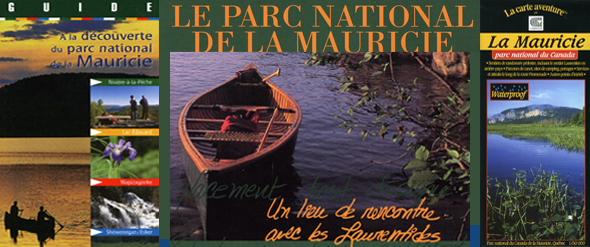 Livre, guide et carte du parc national de la Mauricie.