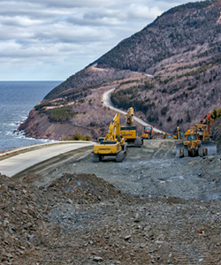 Travaux routiers le long du Cabot Trail