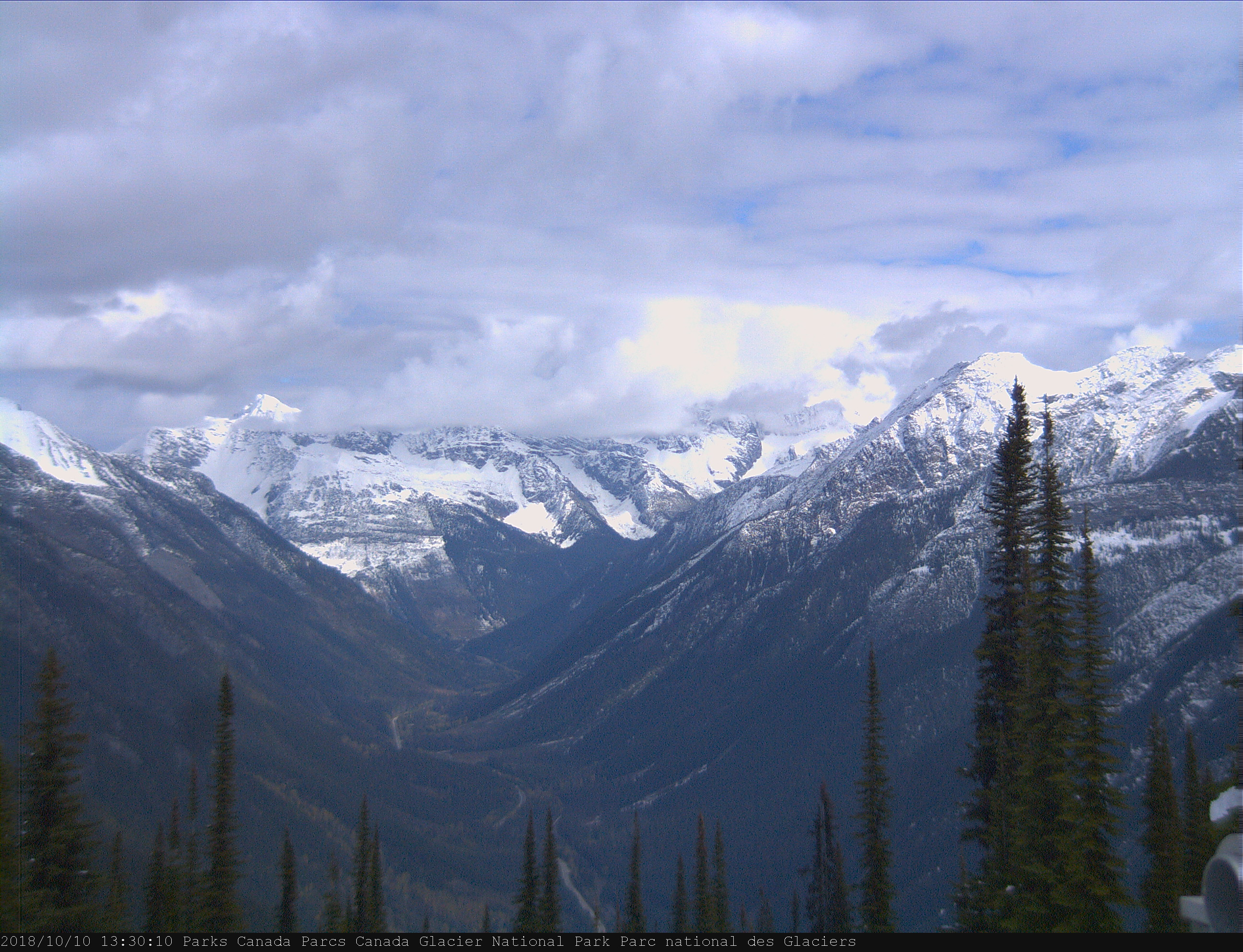 View of Sir Donald Range in Glacier National Park, Canada.  Features visible include: Mount Sir Donald, Uto Peak, Eagle Peak, Avalanche Mountain, Terminal Peaks and the Illecillewaet valley.