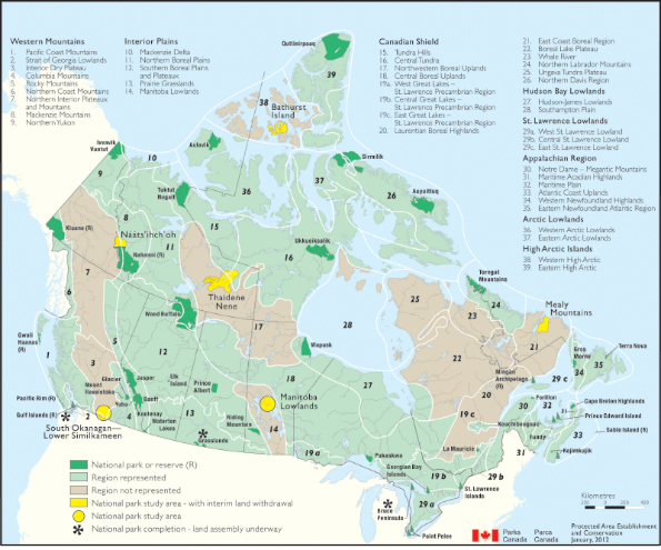 Figure 1 represents the National Parks of Canada System Plan