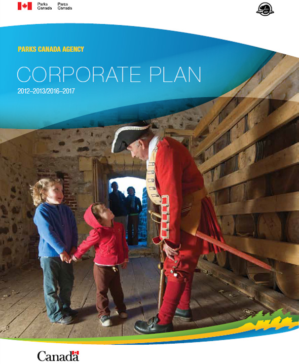 2012-2013 Corporate Plan Cover Image - Interpreter with Children at Fort Anne National Historic Site