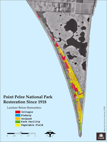 Map of Point Pelee depicting land use before restoration