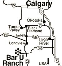 road map showing routes from Calgary to the Bar U Ranch, including highways 2 and 22