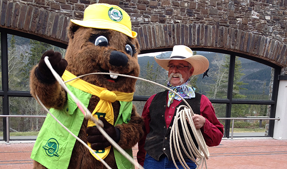 Parka learning how to rope at the Cave and Basin National Historic Site