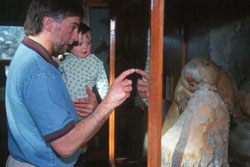 Father and child at Beaver Exhibit