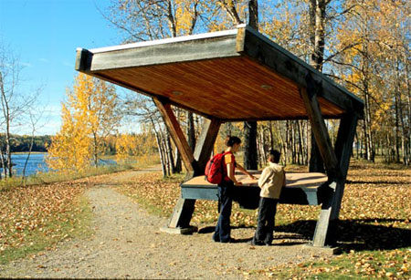 Listening station along interpretive trail