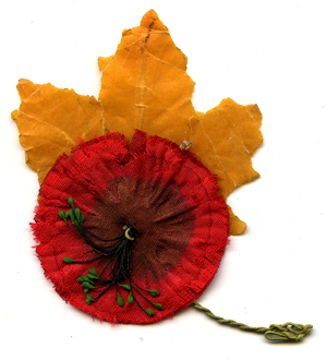Early Remembrance Day poppies were made of cloth, often by disabled Great War veterans.
