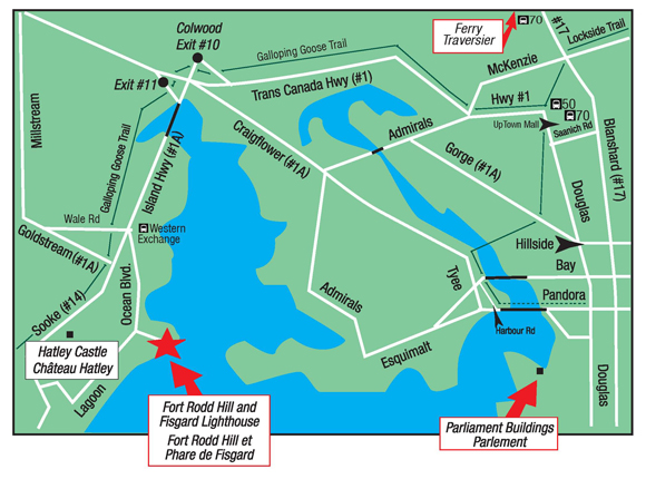Fort Rodd Hill and Fisgard Lighthouse National Historic Sites of Canada - Map