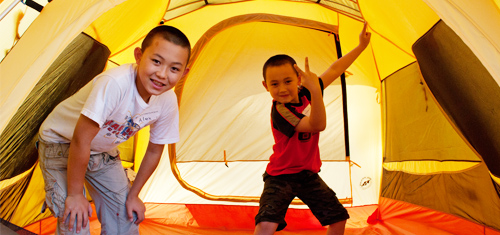 Two boys in their tent at Learn-to Camp