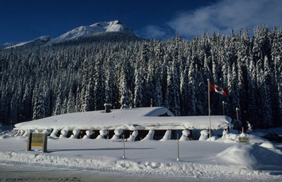 Rogers Pass Discovery Centre under early winter snow