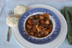 Freshly made beef stew