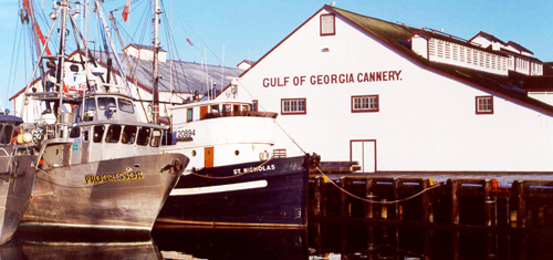 Fishing boats in front of the Gulf of Georgia Cannery