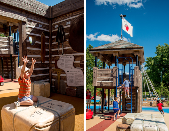 Children playing in the trade store and bastion in the Fur Trade zone of the Variety Heritage Adventure Park