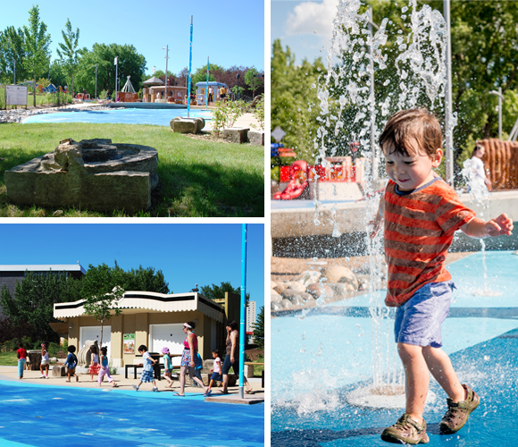A boy plays in the splash park in the Metropolis zone of the Variety Heritage Adventure Park