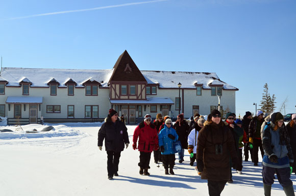 The trek begins as participants depart Parks Canada Visitor Centre in Churchill's Heritage Railway Station