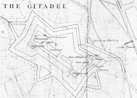 Map of Halifax Citadel showing barbed wire enclosure for prisoners of war, 1916
