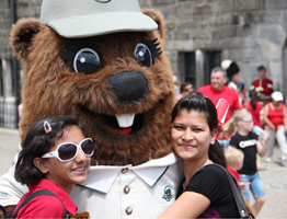 Mascot with visitors