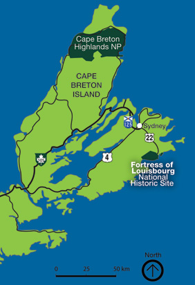 Regional locator map for the Fortress of Louisbourg National Historic Site