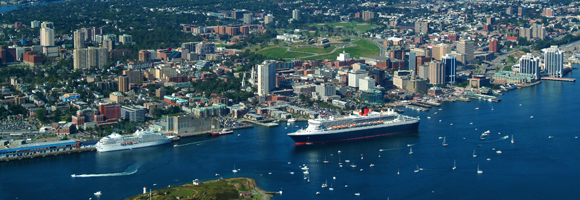 Aerial photo of the Halifax Citadel and Halifax harbour