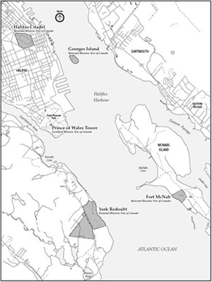 Map showing the sites of the Halifax Defense Complex
