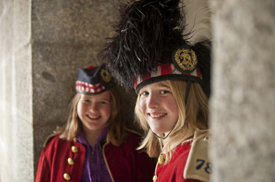 Two girls in soldier costume at the Halifax Citadel