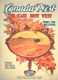 Canada West poster, published by the Department of Agriculture, 1910