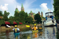 Canoeists downtown Ottawa