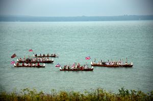 Canoe flotilla as it arrives at Fort St. Joseph
