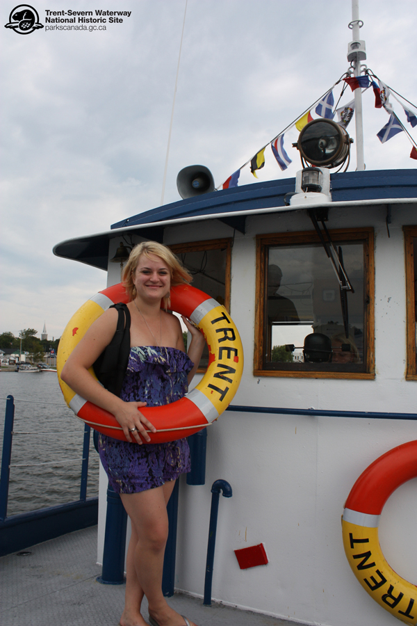 Jaclyn takes a look at some of the Tug Trent's safety equipment. As the Tug travels along the Trent-Severn Waterway, all safety devices have to be in good working order!