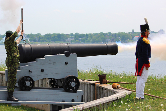 Firing a historic cannon