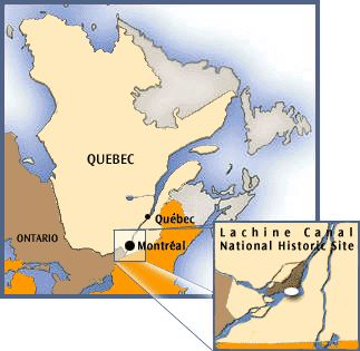 map showing the position of the archipelago of Montreal in the South-West of the province of Québec