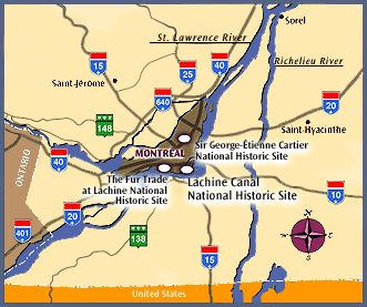 map showing the position on the island of Montréal of the following national historic sites : Lachine Canal, Fur Trade at Lachine, Sir-George-Étienne-Cartier
