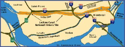map of the South-West part of the island of Montréal showing the position of the Lachine Canal corridor between Lake St. Louis in Lachine and the Old-Port of Montréal