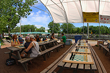 Outdoor chess on the banks of the Lachine Canal