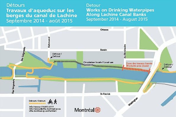 Detour - Works on Drinking Waterpipes Along Lachine Canal Banks - September 2014 - August 2015
