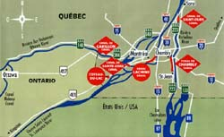 Map of Montreal and Montérégie area access roads and historic canals.
