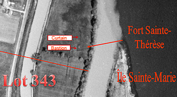Aerial photograph dating back to 1938 that shows the fort's exact location