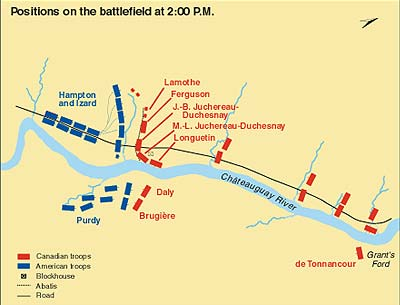 Positions on the battlefield at 2:00 p.m.