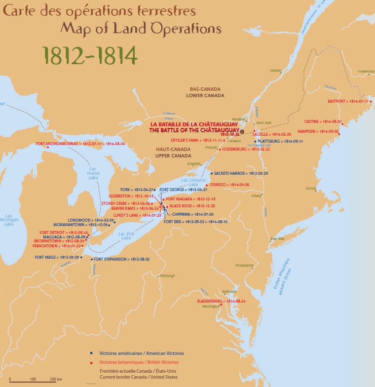 Map of land operations of the War of 1812 that shows the british and american victories