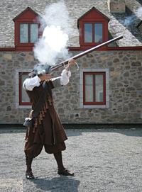 Musket-firing demonstration by a Carignan-Salières French soldier