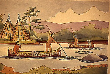 Group of Amerindians travelling on the St. Lawrence River in a bark canoe