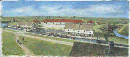 Artist's rendering of a portion of the canal and warehouses as they likely appeared in 1816.
