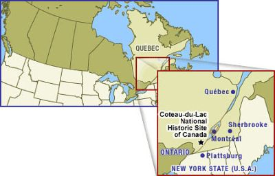 Colour map of Canada with, aside, the province of Quebec and the Coteau-du-Lac National Historic Site of Canada