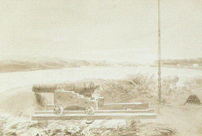 View of part of the cloverleaf-shaped bastion and Coteau-du-Lac rapids in 1821