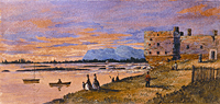 Painting of Fort Chambly at Dusk