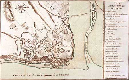 map of Québec in 1709 where we can see the St.Lawrence River and the St.Charles River. It's easy to see that the first fortifications (1693) where protecting a smaller territory than the second fortifications (1700 and 1706).