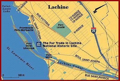 Map showing the location of The Fur Trade at Lachine in relation with the canal, Lake St. Louis, the River, René-Lévesque Park, �D;�A;Père-Marquette Park and Monk Park in Lachine