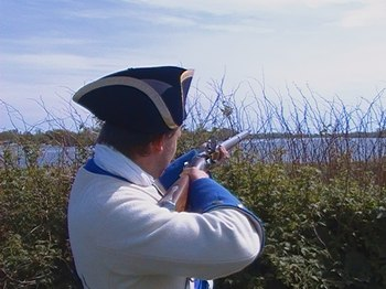 French soldier in 1760 defending Île aux Noix
